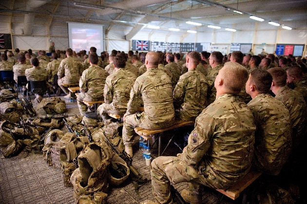 Soldiers in Briefing at RSOI in Camp Bastion, Afghanistan
